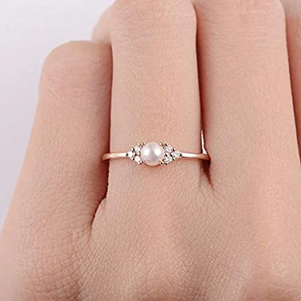 Caoli Plated 18k Rose Gold Pearl Ring 925 Silver