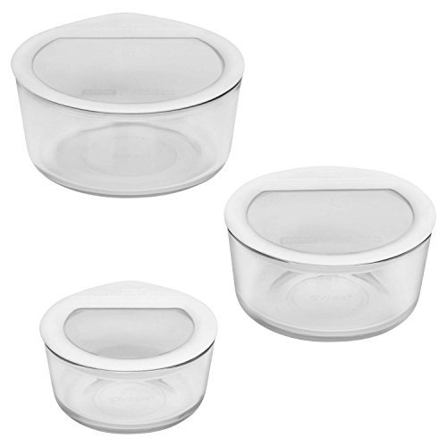 Pyrex 6 Piece No-Leak Food Storage Set, (Round White Food)