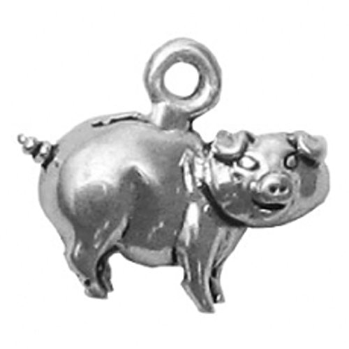 Bank Piggy Sterling Silver (Sterling Silver Mini Piggy Bank With Slot Dangle Charm Bead For Bead Charm Bracelet)