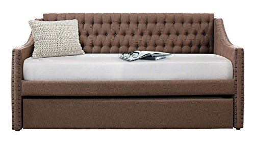 - Homelegance Sleigh Daybed with Tufted Back Rest and Nail Head Accent, Twin, Brown