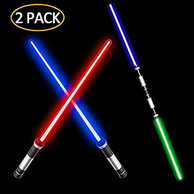 VLSEEK Laser Sword Upgrade Light Up 2-in-1 7 Color Changing LED Light Up FX Dual Saber Sound (Motion Sensitive) for Galaxy War Fighters and Warriors, Stocking Ideal Kid Gift, Xmas Presents (2 Pack): Toys & Games