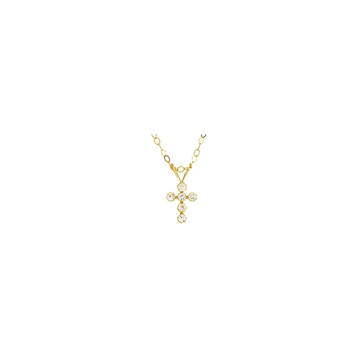 Youth Cubic Zirconia Cross Necklace in 14K Yellow Gold