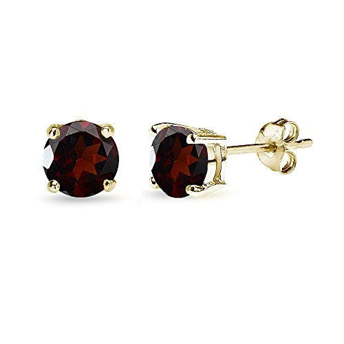 Yellow Gold Flashed Sterling Silver Garnet 6mm Round-Cut Solitaire Stud Earrings ()