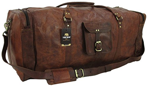 "Price comparison product image Yuge Bear 32"" DS3 XXL Oversized Vintage Genuine Leather Travel Duffel Bag"