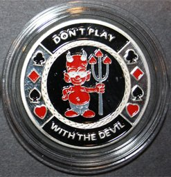 MRC Poker Hand Painted Poker Card Guard Protector - Don't play with Devil Silver