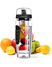 OMORC Fruit Infuser Water Bottle, 1L Leakproof Sport Water Bottle BPA Free Large Capacity with Cleaning Brush & Fruit Recipe for Outdoor Hiking Camping Climbing Traveling School Orange