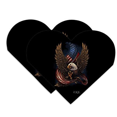 Patriotic Bald Eagle American USA Waving Flag Heart Faux Leather Bookmark - Set of 2