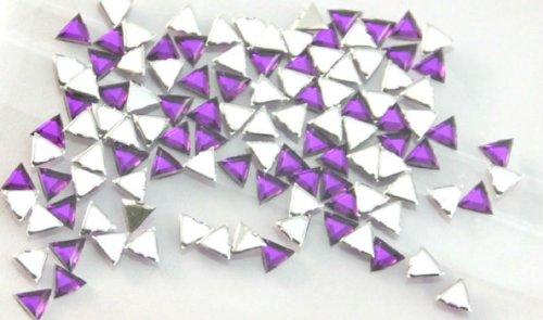 Zink Color Nail Art Acrylic Rhinestone Deep Purple Triangle 100Pc -