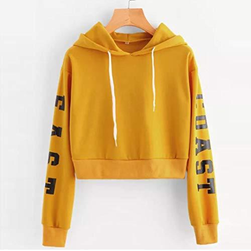 Maglietta Tinta Oro Tops Sportive Sweatshirt – Elegante Cappuccio Unita  Lunga Casual Tumblr Donna Autunno Manica Felpe Maglie Uomogo Con ... 4bc60b30c20