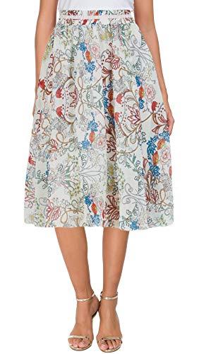Afibi Womens Floral Elastic High Waist Pleated Skater Skirt Dress Knee Length (Medium, White-Long)