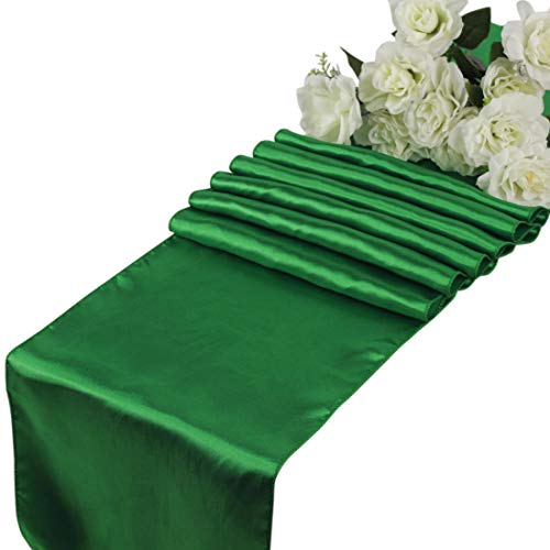 mds Pack of 10 Wedding 12 x 108 inch Satin Table Runner for Wedding Banquet Decoration- Green
