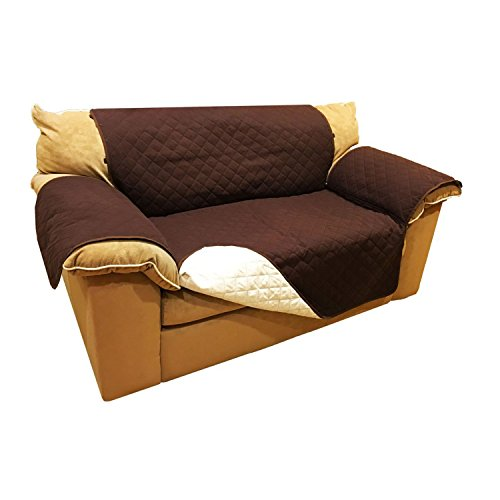 ALEKO PSC02BR Pet Furniture Slipcover Spill Scratch Pet Fur Protection Cover for Love Seat Couch Bed 88 x 70 Inches Brown (Beds Dog Armchair)