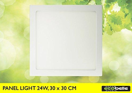 ECOBELLE® Deckenleuchte Deckenlampe LED 24W, 2000 Lumen, Warmweiss 3000K, Abmessungen: 30 x 30 cm (LED-Treiber enthalten)