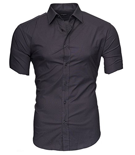 Kayhan Uni Kurzarm Herren Hemden Herren-Hemd Slim-Fit Herrenhemden Kurzarm-Hemden Männer Freizeit-Hemd Business S-6XL