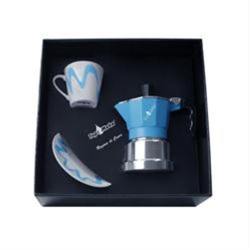 Top Moka - Stove Top Espresso Coffee Maker Box Set - With Cup and Saucer - Aluminium - Light Blue/Silver