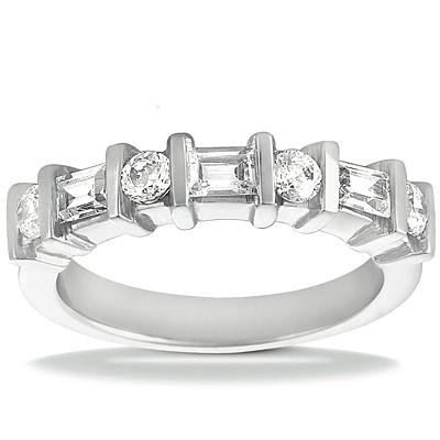 1.00 ct Ladies Round and Baguette Cut Diamond Wedding Band In Channel Setting in Platinum in Size 12 (Baguette Platinum Mounting)