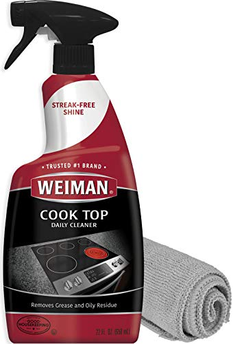 Ceramic Cooktop Cleaning Kit - Weiman Cook Top Daily Cleaner - 22 Ounce - Weiman Microfiber Cloth for Glass Ceramic and Induction