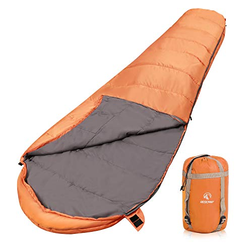 REDCAMP Ultra Lightweight Mummy Sleeping Bag for Backpacking, Comfort for Adults Warm Weather, with Compression Sack, Orange (87