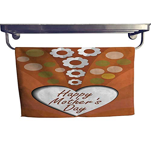 homecoco Sports Ttowel Happy Mothers Day Banner with Cut Out Heart and White Paper Cut Flowers Towel W 12