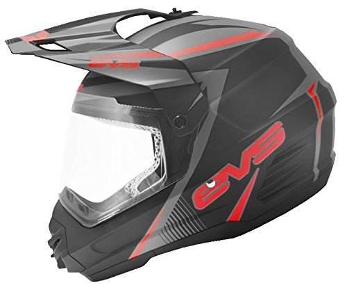 EVS Sports T5 Dual Sport Venture Helmet (Matte Black/Red, X-Large) by EVS Sports