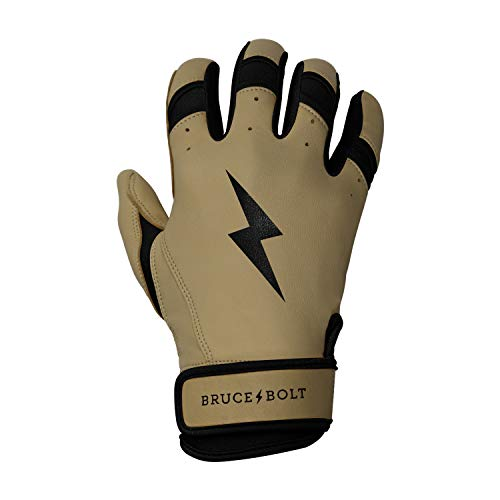 BRUCE+BOLT Adult Premium Pro Natural Series 100% Cabretta Leather Short Cuff Batting Gloves - Medium Tan Leather Black Trim - - Series Glove Pro Tpx