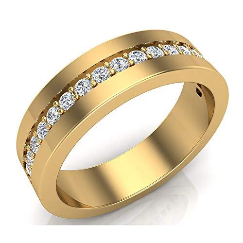 Men's Diamond Wedding Band Semi-Eternity Wedding Ring 14K Yellow Gold 0.45 ct tw (Ring Size 13.5)