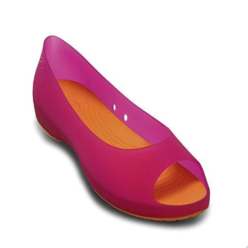 Croc Peep Toe - Crocs Everleigh Woman Flats Pink-Mango (10)