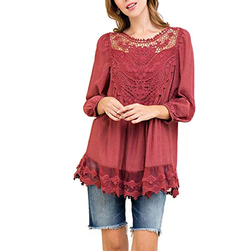 Plus Patchwork Crothet Red Manches 3 T 4 Femme Shirts Dentelle Tops PXqpxwgp