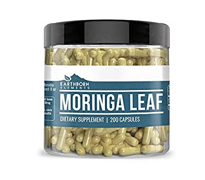 Moringa Capsules (200 Capsules, 300 mg Each) by Earthborn Elements, Energizing Dietary Supplement, Anti-Inflammatory, Hair, Skin & Nails, Superfood