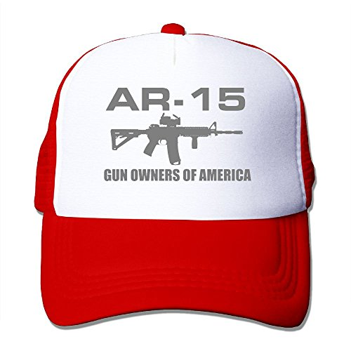 Mesh Baseball Caps Gun of American AR-15 Adjustable Sports Trucker Cap Sun Hats for Golf Cycling Running Fishing Outdoor (Best Drum Magazine For Ar15)