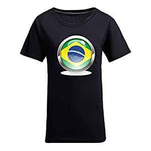 Custom Womens Cotton Short Sleeve Round Neck T-shirt, Printed with World Cup Images Black by icecream design