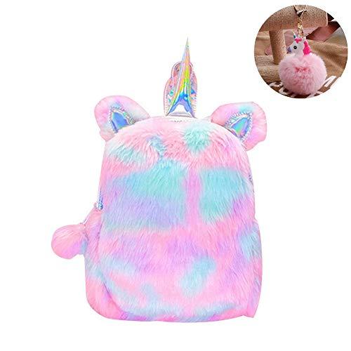 CCUT Plush Unicorn Backpack Velvet Soft Rainbow Backbag Toddler Kids Backpacks Cute Plush Little Girls Boys Animal Backpacks Gifts - 12 inch (Pink) ()