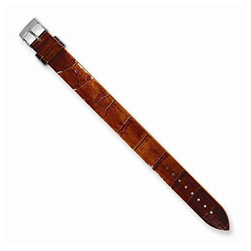 Alligator Texture Patent Finish - Best Designer Jewelry Moog Chestnut Brn Alligator Texture Patent Finish Calf Lthr Watch Band