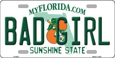 Amazon com: Bad Girl Florida Novelty Metal License Plate (Sticky