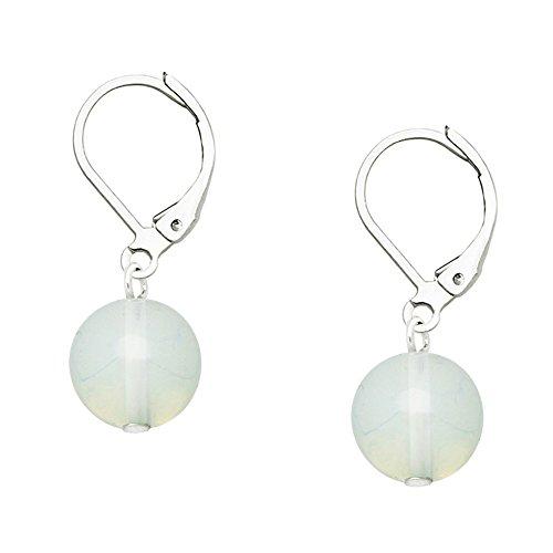 Falari 10mm Round Natural Stone Earring High Polished Rhodium Leverback White Opal