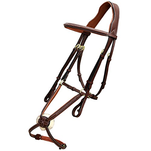 Fancy Stitched Leather - Exion Fancy Raised Mexican Leather Bridle with PP Rubber Grip Reins and Brass Buckles | Equestrian Show Jumping Padded Bridle Set | English Horse Riding Premium Tack |Oak Brown | Full
