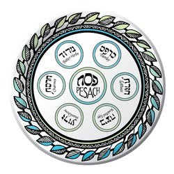 Passover Disposable Plates Seder Plate Design 9 inch (Pack of 8)