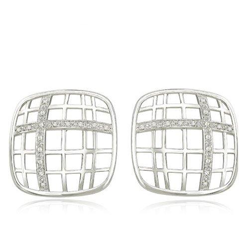 Basketweave Design Bracelet - 14K White Gold & Diamond Thin Basketweave Design Earrings Diamond quality A (I1-I2 clarity, H-I color)
