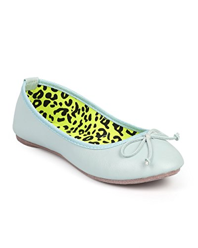 Wild Diva DF44 Women Leatherette Round Toe Bow Slip On Ballet Flat - Menthol (Size: 9.0)