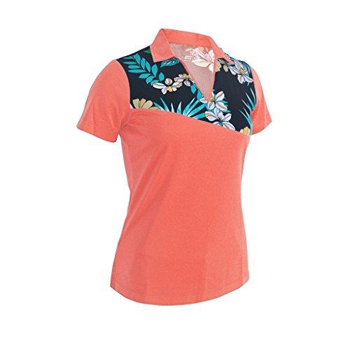 Monterey Club Ladies Dry Swing Floral Strippy Print Block Polo Shirt #2317 (Peach Pink, 2X-Large)