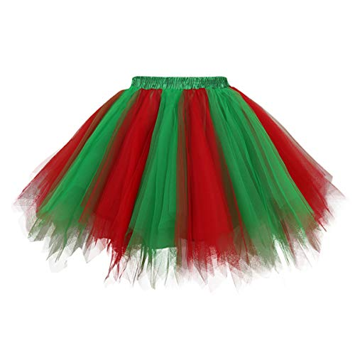 Topdress Women's 1950s Vintage Tutu Petticoat Ballet Bubble Skirt (26 Colors) Green Red L/XL