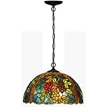 BL- 17-inch Tiffany style chandeliers, European-style bedroom lights living room lights, creative grape hanging lights