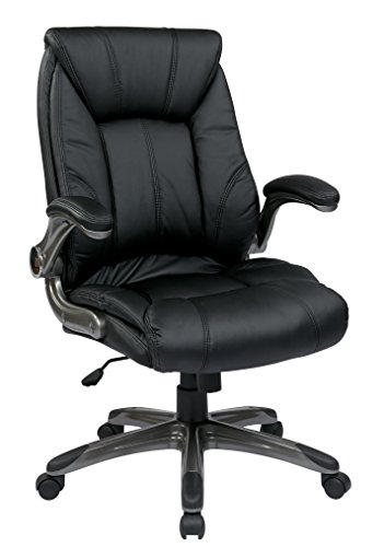 Office Star Faux Leather Seat and Mid Back Executive Chair w