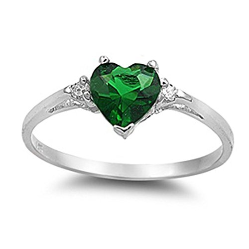 Emerald May Birthstone Ring - Sac Silver  Sterling Silver Simulated Emerald  Heart Promise Ring, 4