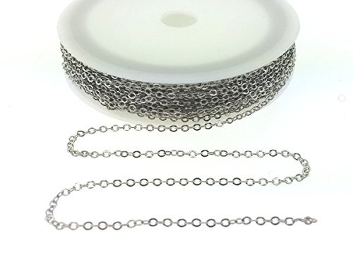 Small Link Chain 2.1 x 1.7mm Dangling Chain, Antique Silver Plated Brass 32 feet