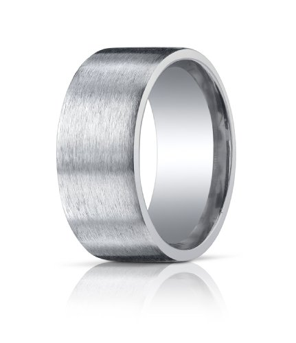 Men's Sterling Silver 10mm Comfort Fit Satin Finish Wedding Band Ring, Size 10.5 ()