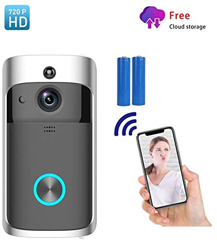 Smart Video Doorbell WiFi IP Security Camera, Wireless Powered 720P Realtime Push Alerts Watchdog Surveillance System, Free Cloud Storage and Heat-Base PIR Motion Detection