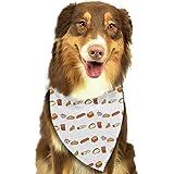 Yisliferunaz Dogs Bandanas Hot Dogs Hamburgers Fries Sausage Pet Triangle Bibs Scarves Retro Scarfs Kerchief Set Costume Decoration Neckerchief Cats Collars for Small Medium Large Puppy
