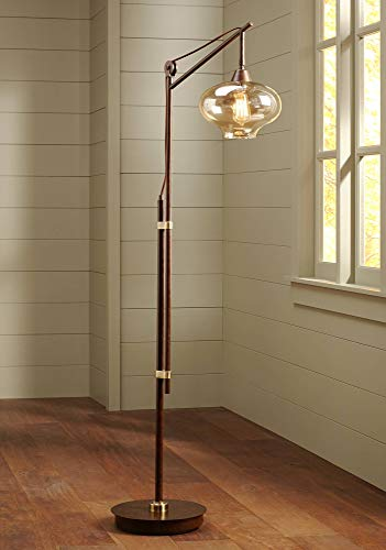 Calyx Industrial Downbridge Floor Lamp Bronze Cognac Glass Dimmable LED Edison Bulb for Living Room Reading Office - Franklin Iron Works