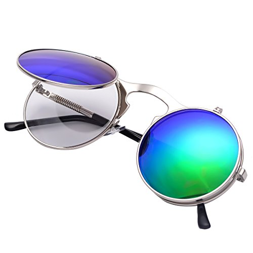 (COASION Vintage Round Flip Up Sunglasses for Men Women Juniors John Lennon Style Circle Sun Glasses(Silver Frame/Green Mirror Lens))